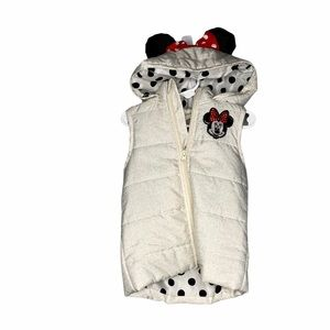 Disney cream Minnie Mouse hooded puffer vest